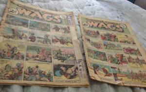 2 x WAGS COLOURED COMIC Super-rare 1930s Australian 1938 Fair only but ICONIC