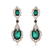 Green Statement Tear Drop 18K Gold Plated Cocktail Bridal Party Earring
