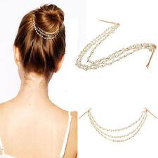 US-Women Style Metal Rhinestone Head Chain Jewelry Headband Head Piece Hair band