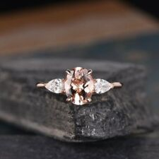 1ct Oval Cut Pink Morganite Pear Accent Engagement Ring Women 9ct Solid RoseGold