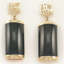 14k Solid Yellow Gold Good Fortune Curved Black Onyx Drop/Dangle Earrings TPJ