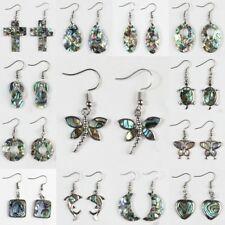 Fashion Womens Flowers Animal Paua Abalone Shell Silver Charm Dangle Earrings