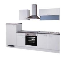 Küchenzeile mit Elektrogeräten Einbauküche Küchenblock E Geräte 270 cm weiss