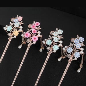 Women Hair Stick Chinese Style Hair Pin Clip  Jewelry Alloy Floral Tassel Clip