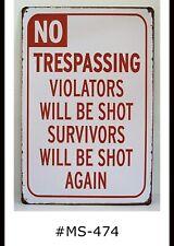 Tin Sign No Trespassing Quotes Warning Beware Retro Metal Signs Plaques Decor