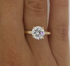 1.5 Ct Round Cut Diamond Engagement Ring  VS1/F 14K Yellow Gold Enhanced