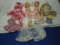 Vintage (1950s?) Hard Plastic Dolls (1 Unmarked Muffie Doll?) Clothes & Accessor