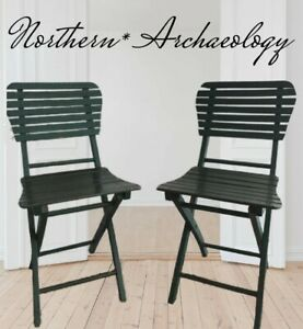 2 Vtg MCM Green Retro Wooden Folding Chairs Slat Seats/Backs Patio Camp Lawn