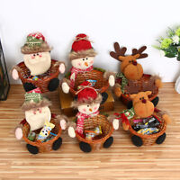 Christmas Candy Storage Basket Santa Snowman Xmas Gift Hamper Display Container
