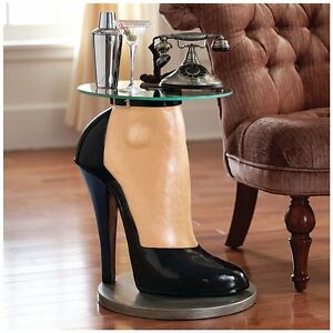 NG34916 - Stilettos Anyone? High Heel Haute Couture Sculptural Table w/Glass Top