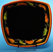 "Clay Art CALIENTE Square Salad Plate 8 1/4"" Peppers Green Red Orange Stonelite"