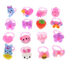CHIC 20Pcs Wholesale Mixed Lots Cute Cartoon Children/Kids Resin Lucite Ring