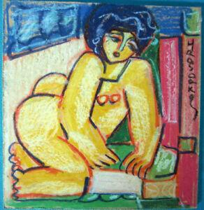 HRASARKOS Tableau Peinture mixte sur panneau 20 cm x 21 cm