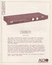 Audio International CM301 Big Foot Original Preamp Operating Instructions