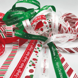 2.7m Christmas Ribbon Jingle Bells Dots Stripes Grift Wrap Satin Decoration 🎅📦