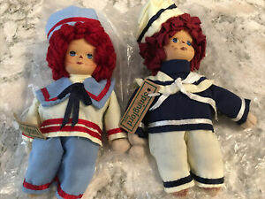 2- Vintage Springford Raggedy Andy Doll In a Sailor Outfit .  USA!  New Old Stoc