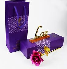 Mothers Day Gift 24K Gold Plated Pink Rose Flower & Love Stand for Mom Mum