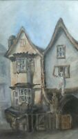 Old Original Watercolor Painting Old Continental Street Scene