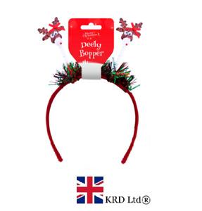 CHRISTMAS REINDEER HEADBOPPER Santa Headband Bopper Fancy Dress Party O318581 UK