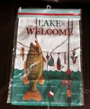 Lake Welcome House Lawn Garden Flag Big Bass Fish Tackle Fishing Pole NEW $15