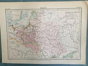 Map, Printed coloured map of Poland, circa 1875.