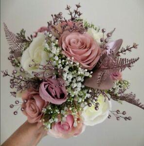 Dusky Pink & Rose Gold Bridal Bouquet/Bridesmaids Posies/Buttonholes