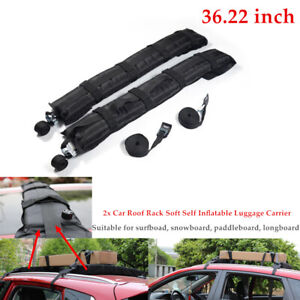 2x Car Roof Rack Soft Self Inflatable Luggage Carrier w/Rope Black Universal Set