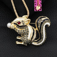 Betsey Johnson Enamel Crystal Cute Squirrel Pendant Chain Necklace/Brooch Pin