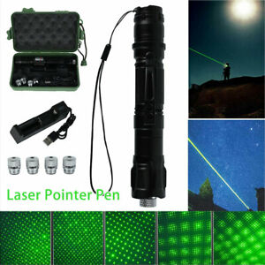 100Miles Green Laser Pointer Pen Rechargable Lazer Visible Beam Torches Charger