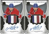 Lot of 2- 2016-17 UD The Cup Alex Galchenyuk Signature Materials Patch Auto #/99