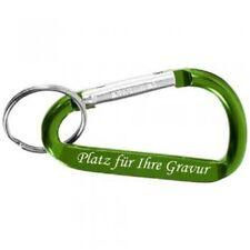 Schlüsselanhänger Karabiner grün aus Aluminium mit GRAVUR personalisiert