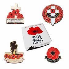 Poppy Badge Set 4x Poppy Badges for Remembrance Day WW1 WW2 Gift Enamel 2019