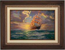 "Thomas Kinkade COURAGEOUS VOYAGE  18"" x 27"" LE G/P Canvas (Walnutl Frame)"