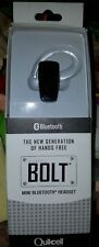 Quickcell BOLT Mini Bluetooth Headset - Black-- easy pairing !! see photos -new