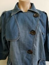 Chicos Asymmetrical Button Up Denim Trench Jean Jacket Size 2 Large 12