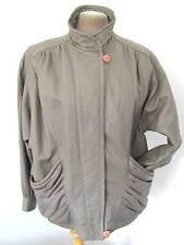80s Vintage Grey deep pockets Leather bomber bat wing jacket coat 12 14 Retro