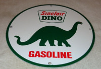 "VINTAGE SINCLAIR DINO GAS 11 3/4"" PORCELAIN METAL GASOLINE & OIL SIGN PUMP PLATE"