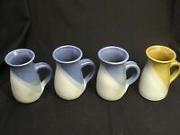 SET OF 4 MUGS SIGNED DEMPSEY CARPENTER STUDIO ART POTTERY BLUE & BROWN