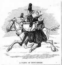 PARTY OF ROUGH RIDERS HORSES HUMOR VINTAGE ENGRAVING RUFF RIDER HORSE