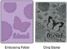 SIZZIX & Hero Arts Textured Impressions BUTTERFLY FRIEND 657766 Stamp & Emboss