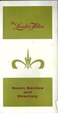 London Hilton Room Service Menu and Directory