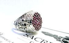 Men's Silver Fleur De Li King Castle Ring With Black Diamonds And Rubies