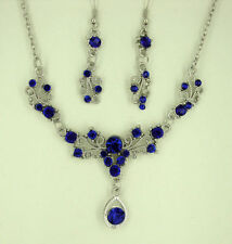 SILVER TONE ROYAL BLUE CRYSTAL SMALL TEARDROP NECKLACE SET