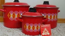 Vintage Record Gorica Zagreb Set Of 3 Red/White/Yellow Enamel Pots With Lids