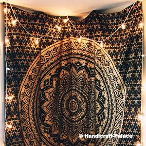 Dark Black Gold Ombre Mandala Wall Hanging Bohemian Indian King Size Tepestry