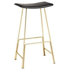"""16.8"""" W Set of 2 Vincent Counter Stool Modern Arched Leather Seat Metal"""