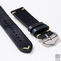 Royal Blue Genuine Leather Vintage Style Watch Strap 20mm & 22mm
