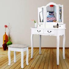 Moderne Coiffeuse 4 Tiroir Tabouret Blanc Miroir Chambre Maquillage Dresser