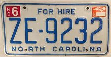 North Carolina TAXI HIRE PASSENGER license Plate Cab Limo Driver Limousine Cabby