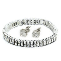 """Mens Silver Plated Iced Out Clear Cz Stones 2 Row Hip Hop Bracelet 9"""" Inches"""
